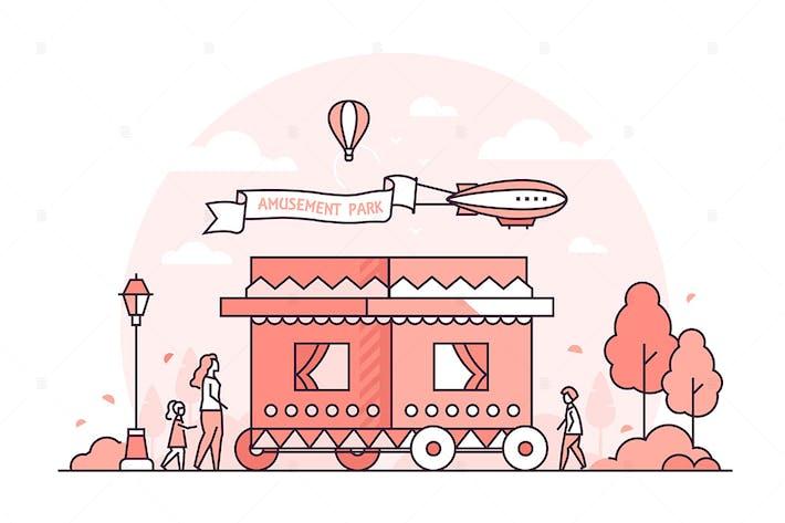 Thumbnail for Amusement park - line design style illustration