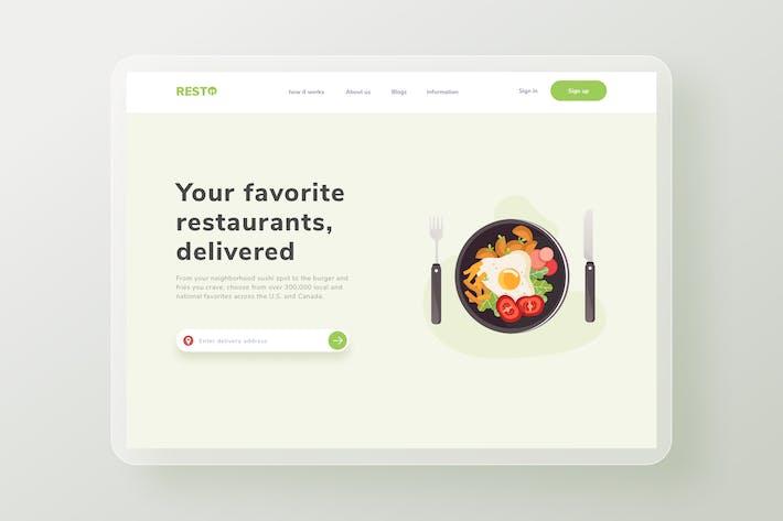 Breakfast menu Landing Page Website Illustration