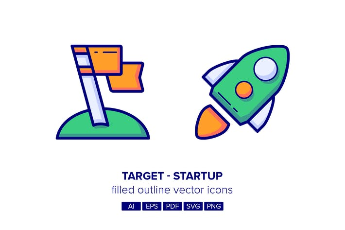 Thumbnail for Startup & Target Filled Outline Icons