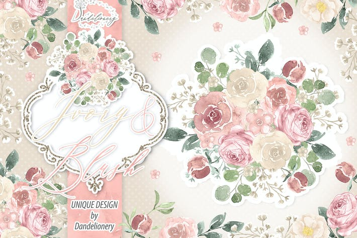 Thumbnail for Watercolor Ivory and Blush design