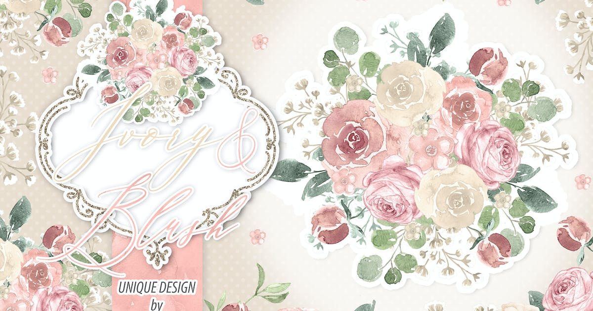 Download Watercolor Ivory and Blush design by designloverstudio