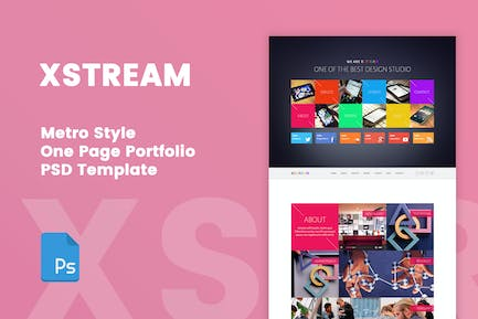 XSTREAM - Metro Style One Page PSD Template