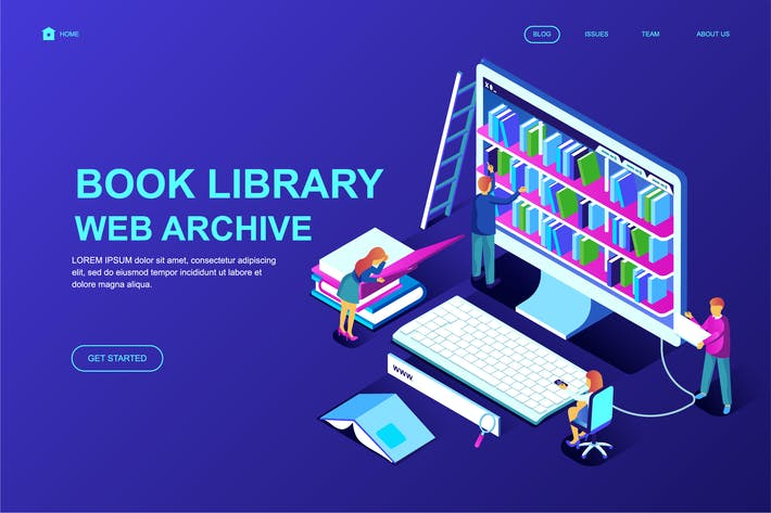 Thumbnail for Book Library Isometric Landing Page Template