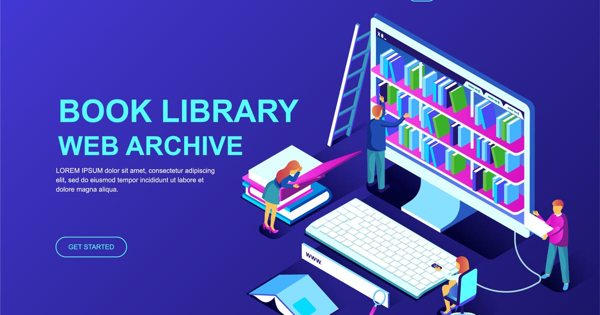 Download Book Library Isometric Landing Page Template by alexdndz