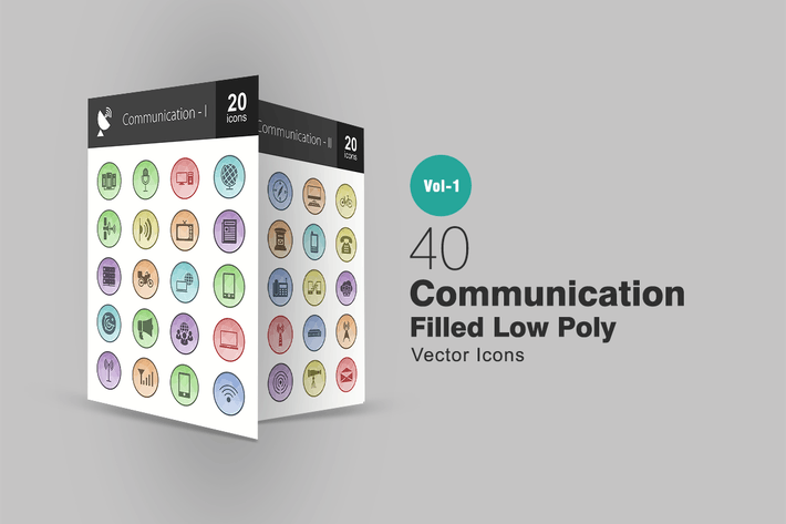 Thumbnail for 40 Communication Filled Low Poly Icons