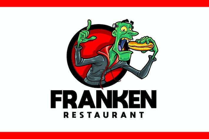 Dessin animé Frakenstein Manger Hotdog Mascotte Logo