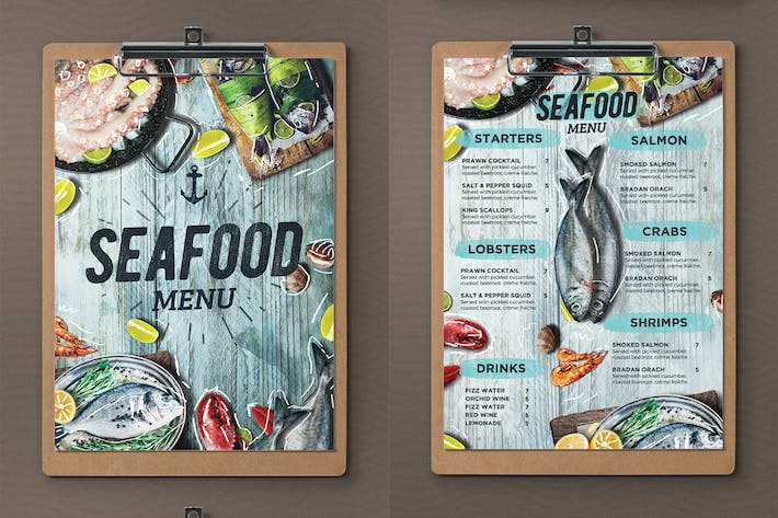 Cover Image For Seafood Menu