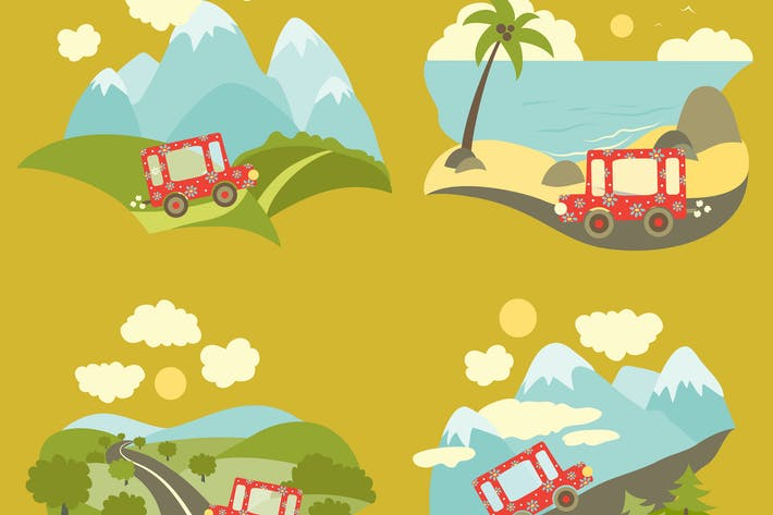 Thumbnail for Set of vector flat style summer vacation trip