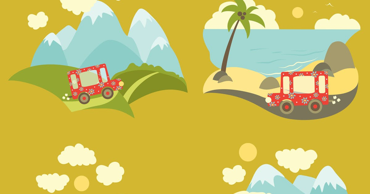 Set of vector flat style summer vacation trip by masastarus