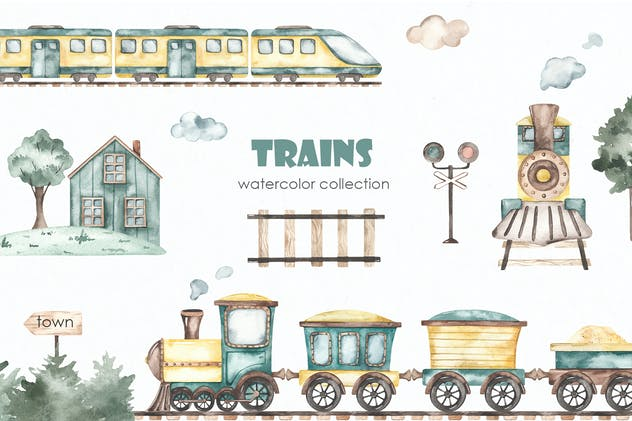 Trains watercolor collection