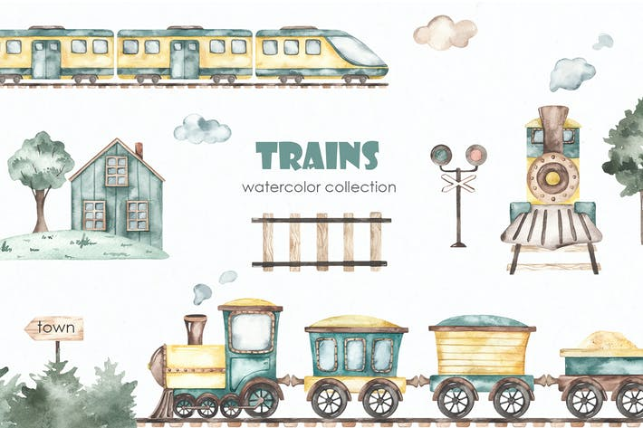 Thumbnail for Trains watercolor collection