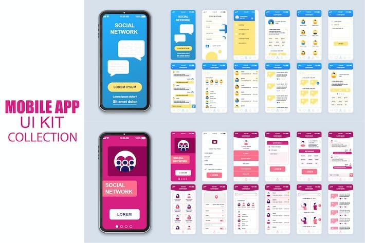 Thumbnail for Большая Коллекция социальных мобильных Приложение Ui Kit Экран
