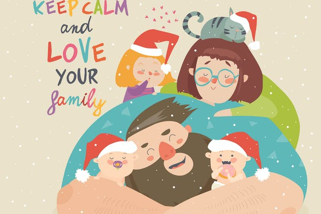 Portrait of cute Christmas family. Vector