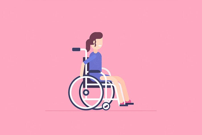 Thumbnail for Girl in a wheelchair - flat illustration