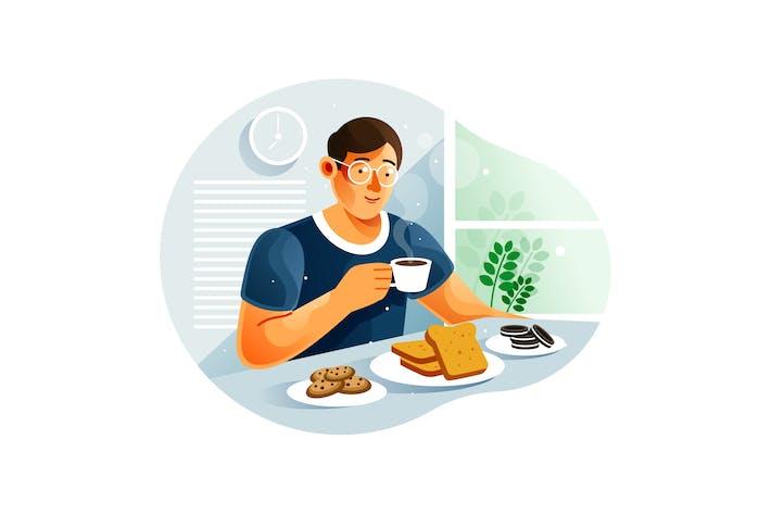 Man having breakfast at home