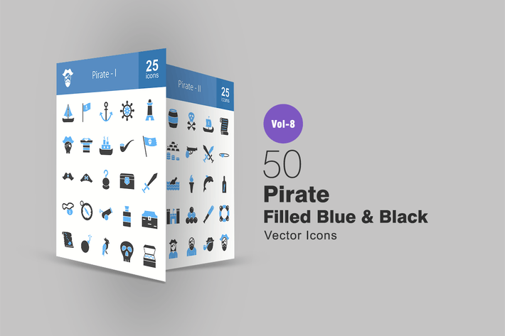 Cover Image For 50 Pirate Filled Black & Blue Icons