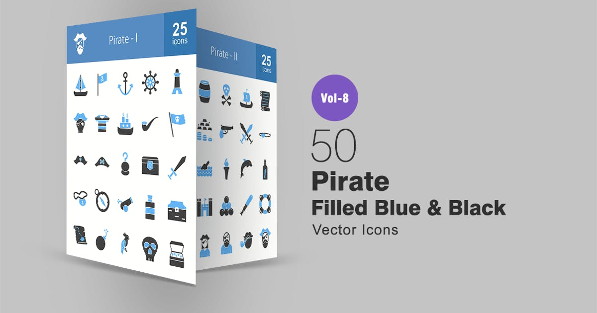 Download 50 Pirate Filled Black & Blue Icons by IconBunny