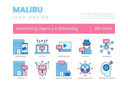 100 WerbeAgentur & Marketing Line Icons