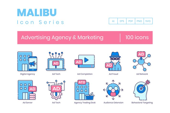 Thumbnail for 100 Advertising Agency & Marketing Line Icons