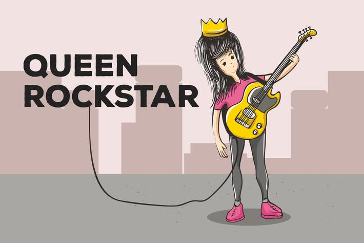Thumbnail for Queen Rockstar Vector Background