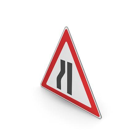 Verkehrszeichen Straße Narrows auf der linken Seite