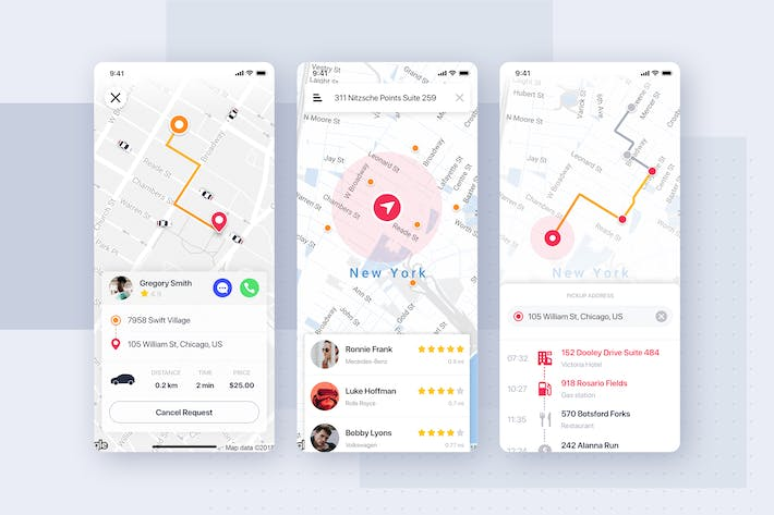 Thumbnail for Map & Tracking screens for Taxi Service