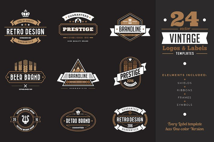 Thumbnail for Vintage Labels Badges Logo Templates