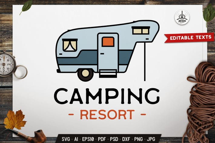 Thumbnail for Camp Resort Logo Template. Road Trip Emblem SVG