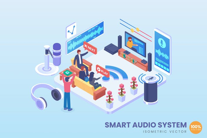 Thumbnail for Isometric Smart Audio System Vector Concept