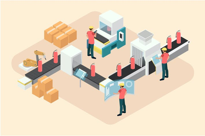 Thumbnail for Manufacturing Industry  Isometric Illustration