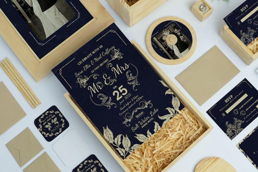 Vintage Wedding Invitation & Rsvp Card