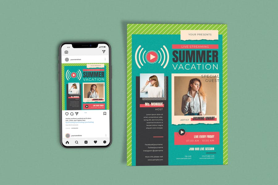 Live Streaming Summer Template Set