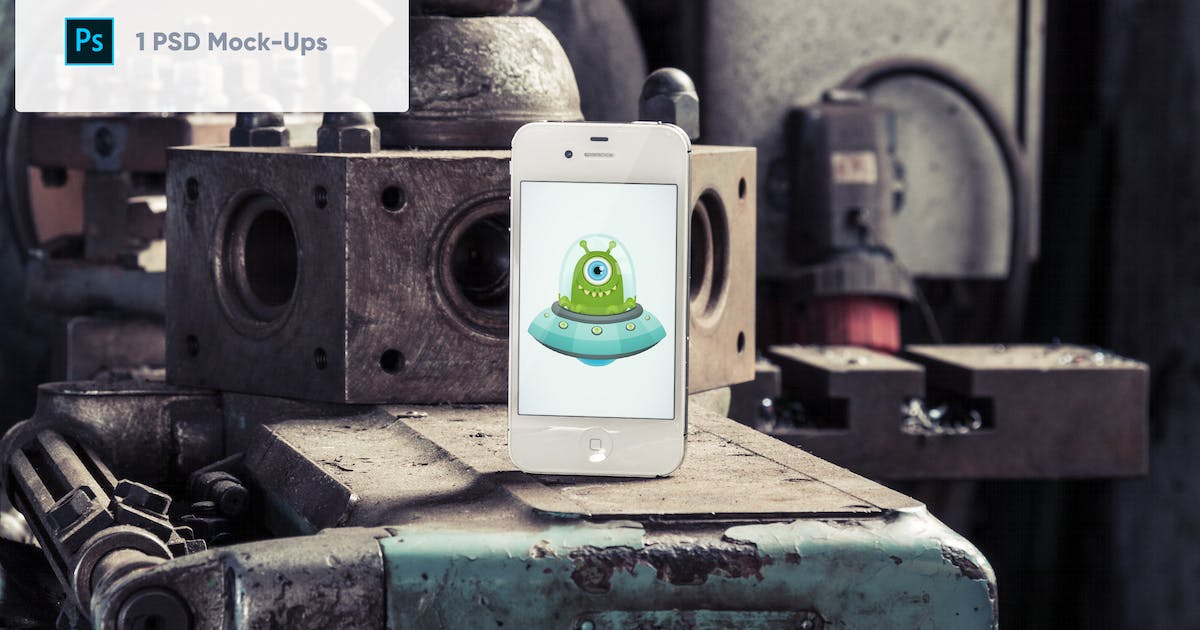 Download Old Phone in Old Factory PSD Mockup by maroskadlec