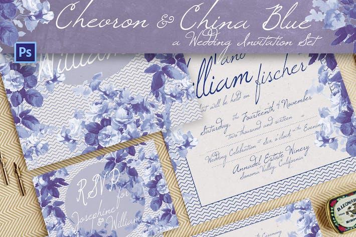 Thumbnail for Chevron & China Blue Wedding Invitation