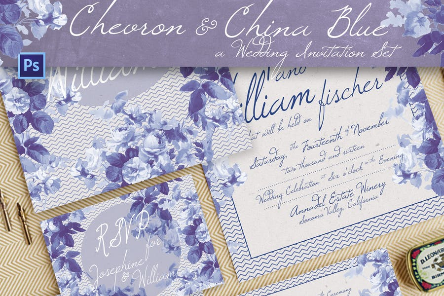 Chevron & China Blue Wedding Invitation