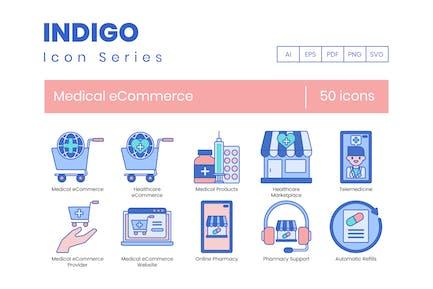 50 Medical eCommerce Icons - Indigo Series
