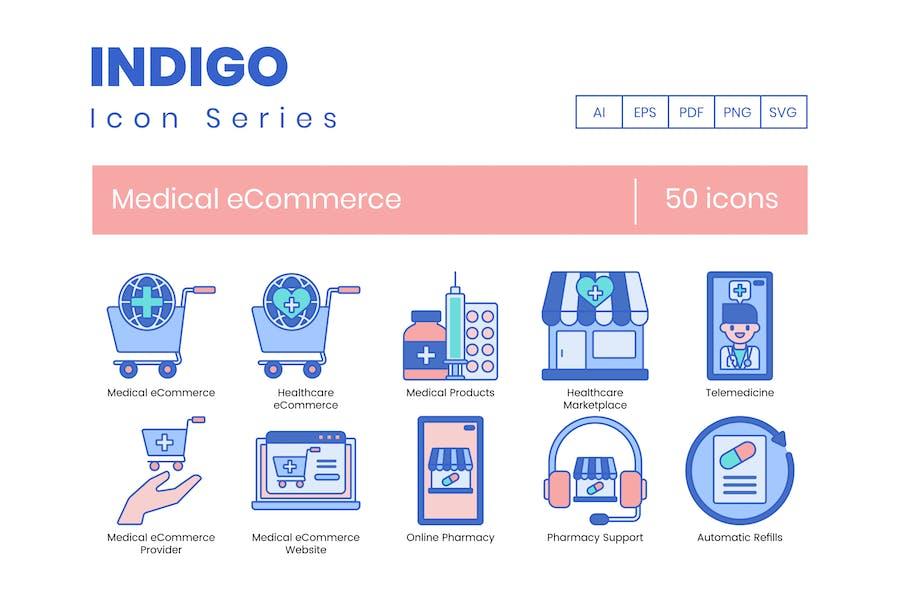 50 medizinische E-Commerce-Icons - Indigo-Serie