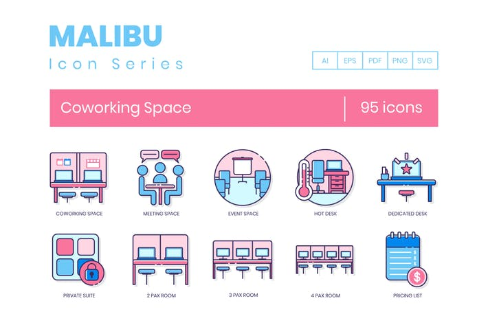 Thumbnail for 95 Coworking Space Line Icons