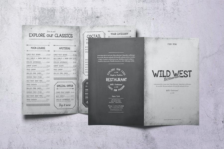 Wild West Bifold A4 & US Letter Food Menu