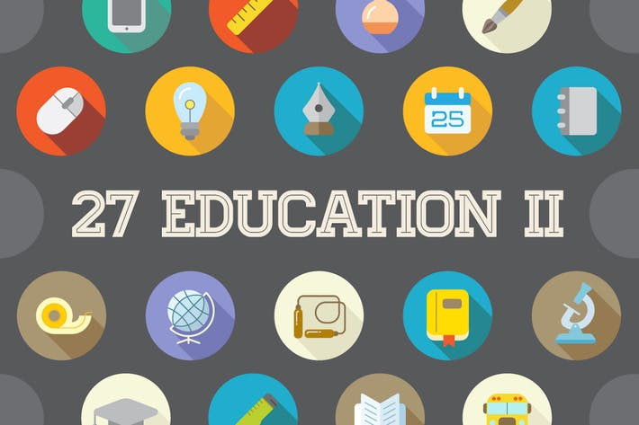 Thumbnail for 27 Vector Education Flat Icons Set (Vol. 2)