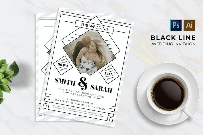 Thumbnail for Black Line 2 Mariage | Invitation