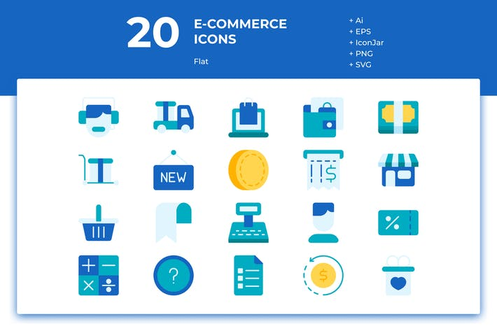 Thumbnail for 20 E-commerce Icons (Flat)