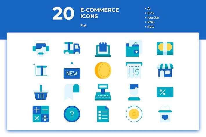Thumbnail for 20 Íconos de comercio electrónico (plano)
