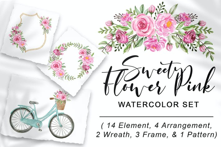 Thumbnail for Sweet Flower Pink-Watercolor Set