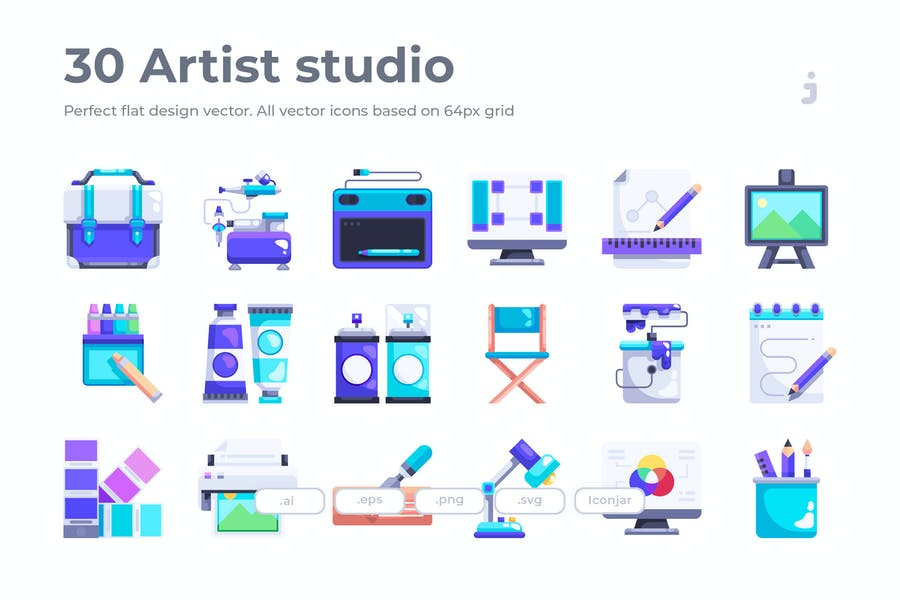 30 Artist studio Icons - Flat
