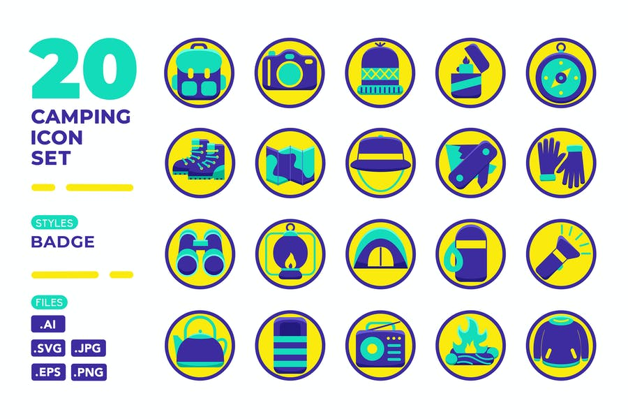 Camping Icon Set (Badge)