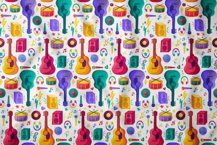 Music Cartoon Seamless Pattern