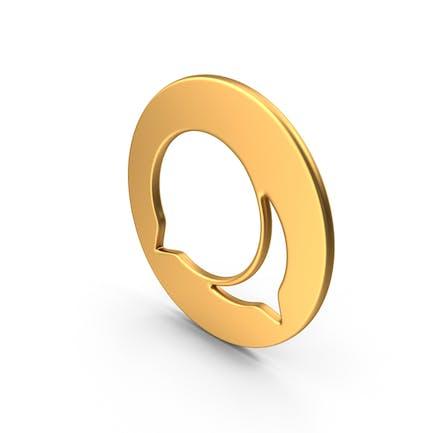 Símbolo de burbuja de voz dorado