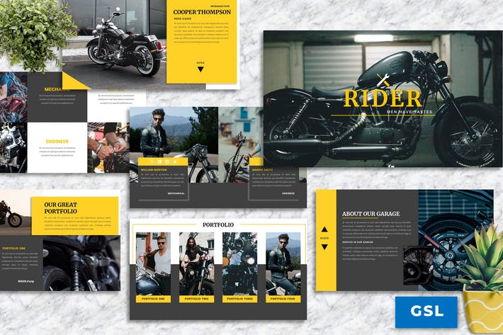 Cover Image For Rider – Motorbike Service Googleslide Template
