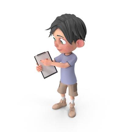 Cartoon Boy Jack Holding Notepad